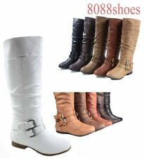 Women's Causal Flat Round Toe Zipper Thigh Knee High Boots Shoes Size 6 - 11 NEW