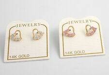 14K Solid Yellow Gold Cubic Zirconia CZ Heart Screw back Stud Earrings Hearts
