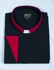 Mens Clergy Shirt Two Tone Long Sleeve Tab Collar (Black/Red), French Cuff