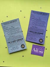 2x Tooth Receipt / Tooth Fairy Certificate  - Fairy Door Accessories