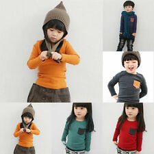 Kids Boys Girls Long Sleeve T-shirt Blouse Children Stretch Tee Casual Tops 6-7