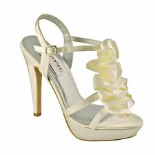 Dyeables Ivy Bridal Heel, Ivory Ruffles, Ivory Wedding Shoes, Bride's Shoes