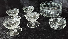 Bohemia Crystal grapevine sherbet dessert glasses & footed bowl & cream bowl
