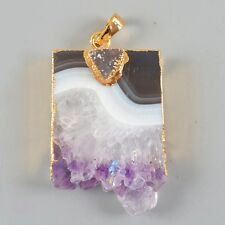 Rare Amethyst Druzy Slice & Agate Druzy Pendant Bead Gold Plated D000885