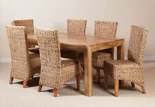 6-SEATER LIGHT MANGO & RATTAN TABLE & CHAIRS SET / DINING ROOM FURNITURE