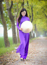 Vietnam Ao Dai Tailor Made, Iris Chiffon Dress, White Satin Pant, Long Sleeves