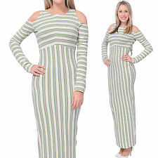 WOMEN'S STRIPED LONG MAXI BODYCON COLD SHOULDER DRESS LONG SLEEVE GOWN