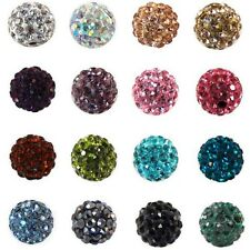 8-12mm 20Pcs Czech Crystal Rhinestones Pave Clay Round Disco Ball Spacer Beads
