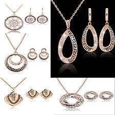 HT Fashion Women Rhinestone Crystal Pendant Necklace Chain Earrings Jewelry Set