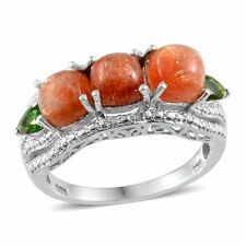 SL SUNSTONE , Russian CHROME DIOPSIDE , Diamond RING in Plat / Sterling Silver