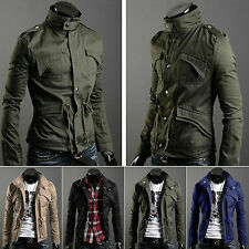 New Fashion Mens Zip Button Hooded Military Slim Fit Collar Jackets Coat Outwear