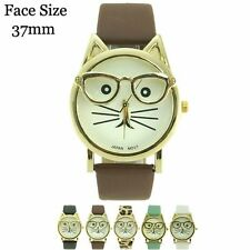New Ladies Cat Face Glasses Leatherette Fashion Wrist Watch 37mm