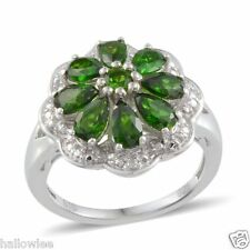 Russian CHROME DIOPSIDE , Diamond Flower RING in Plat / Sterling Silver 2.41 Cts
