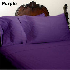 US-BEDDING COLLECTION 1000TC 100%EGYPTIAN COTTON PURPLE STRIPE US TWIN SIZE