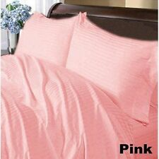 US-BEDDING COLLECTION 1000TC 100%EGYPTIAN COTTON PINK STRIPE US QUEEN SIZE