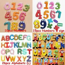 Numbers & Letters Wooden Fridge Magnets Kids Children Learning Teaching Baby Toy