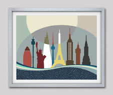 Travel Poster Eiffel Tower Statue of Liberty Big Ben Sydney Tower Shard NY