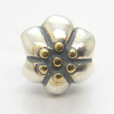 Authentic Genuine Sterling Silver Threaded Flower Bead with Gold charm bead