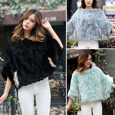 100% Real Genuine Knitted Rabbit Fur Round Collar Cape Stole Shawl Scarf Coat