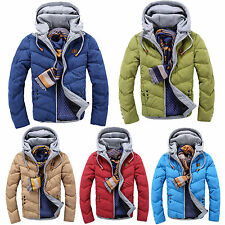 Men's Slim Casual Warm Jacket Hooded Winter Thicken Coat Parka Overcoat Hoodies