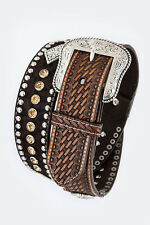 Men's Basket Weave Leather Belt Heavy Duty Western Rhinestones Concho Gun Casual