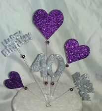 Handmade Purple and silver Hearts Happy Birthday cake topper ANY AGE
