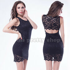 Womens Black Scallop Lace Bodycon Party Evening Sexy Little Black Dress M 10 12