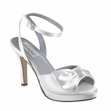 Dyeables Brit White Bridal Shoes with Bow and Rhinestone Ornament, Bridal Heels