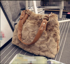 Retro Womens Faux Fur Zip Shoulder Bags Messenger Casual Handbags Tote Purse CC2