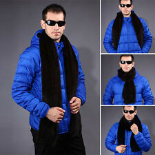 Men's 100% Real Knitted Farm Mink Fur Stole Cape Shawl Chic Style Scarf Warm