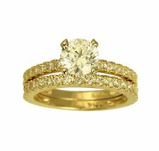 2.50 Ct 14K Yellow Gold Round Cut Engagement Promise Ring Matching Band Duo Set