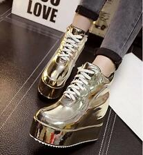 New Womens Round Toe Ankle Boots Lace up High Wedge Heel Creepers Platform Shoes