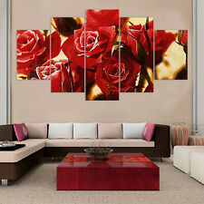 Red Rose Canvas Oil Painting Wall Picture for Living Room Home Decor 5p No Frame