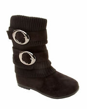 WOMENS BLACK FAUX SUEDE KNITTED SLOUCH MID CALF WINTER ZIP BOOTS LADIES SIZE 2-7