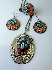 Handmade Stylish Polymer Clay Flower Charm Necklace Earrings Ring Set OOAK