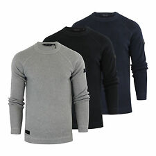 Mens Jumper Dissident Krios Cotton Crew Neck Weave Knitted Sweater