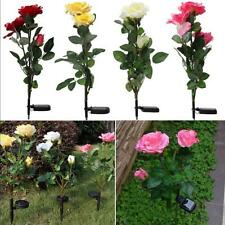 Outdoor Solar Powered Rose 3-LED Garden Yard Stake Path Lamp Night Light 4Colors