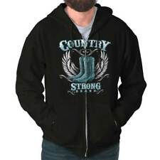 Country Strong Boots Wings Rodeo Western Cowgirl Gift Ideas Zipper Hoodie
