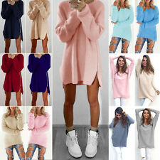 Womens Fluffy Sweater Knitted Loose Long Jumper Mini Dress Top Pullover Knitwear