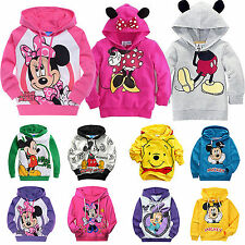 Girls Mickey Minnie Long Sleeve Hoodies Kids Boys Pullover Sweatshirt Coat 1-9Y