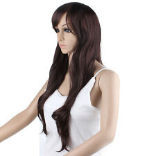 Woman Wig Cap Long Fluffy Curly Fake Hair Neat Bangs Heat Resistant Synthetic