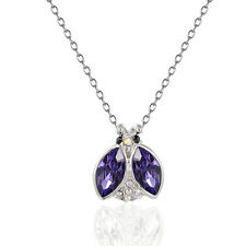 FINE Jewelry18K White Gold GP 100% Swarovski Crystal Ladybug Pendant Necklace