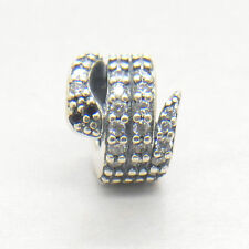 Authentic Genuine S925 Sterling Silver Sparkling Snake Clear CZ Charm Bead