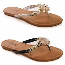 LADIES WOMENS CASUAL SUMMER FLIP FLOPS TOE POST HOLIDAY BEACH COMFORT SHOES