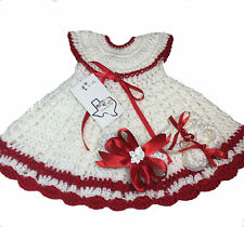 MiC Crafts Handmade Crochet Baby Set 3pc Dress Headband Shoes White/Red