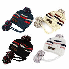 Fashion Cute Women Knitted Hat With Thick Yarn Knitted Ball Winter Ear Cap BE
