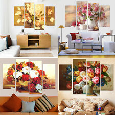 4 Piece Canvas Art Modern Flowers Oil Painting Wall Art Canvas Prints No Frame