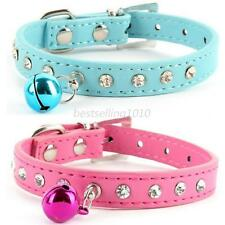 Pet Dog Cat PU Leather Necklace Neck Strap Puppy Rhinestone Buckle Bell Collar