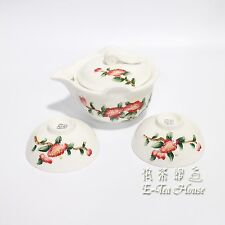 E-Tea-House, Traditional Chinese Camellia Flower Gaiwan / Teacups x 2 / Teaset