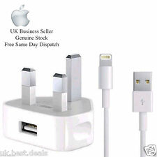 USB 2M CABLE CERTIFIED FOR  APPLE IPHONE 6 5 IPAD IPOD MAINS WALL CHARGER PLUG